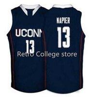 Huskies Connecticut # 13 Shabazz Napier Basketball Jerseys Branco Marinho Bordado Bordado Personalizado Personalizado Qualquer Nome Tamanho