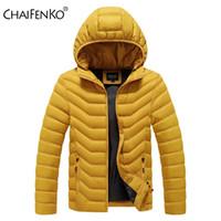 Chaifenko Kış Sıcak Rahat Ceket Parkas Erkekler Sonbahar Moda Streetwear Erkekler Parkas Rüzgar Geçirmez Kalın Kapüşonlu Ince Katı Ceket Erkekler 210222