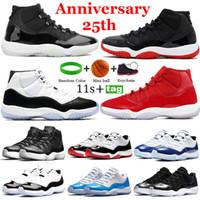 En Kaliteli Yüksek 25. Yıldönümü 11 Basketbol Ayakkabıları 11 S Düşük Beyaz Gizli Concord 45 Uzay Reçel Platin Tente Erkek Bayan Sneaker Eğitmenler 36-47