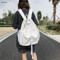 Chongsukei cor sólida cordão laço selvagem grande capacidade de capacitação mochila simples schoolbag feminino estilo melhor do que