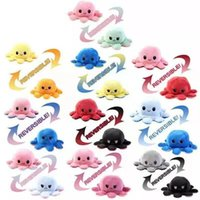 US STOCK Baby Kids Gift Doll Cute Reversible Flip Octopus Stuffed Soft Dolls Double-sided Expression Plush Toy New Year Christmas Gifts UPS Shipping