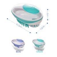 Cão Grooming Bath Brush 2-em-1 Spa Massagem Massagem Pente Soft Silicone Chuveiro Cabelo CMOB Ferramenta de Limpeza Suprimentos