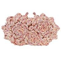 Luxus Frauen Gold Rose Blume Aushöhlen Kristall Abendtasche Kupplungen Kleine Minaudiere Handtasche Geldbörse Hochzeitsbox Clutch Bag A28