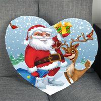 Pillow Case Christmas Year Heart Shape Cover Custom Merry Zipper Pillowcase Home Gift Just Size 41x36cm,47x42cm
