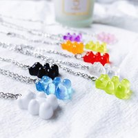 Pendant Necklaces 5 Colors Cute Resin Gummy Bear Chain Candy Color For Women Girl's Charm Daily Handmade Jewelry Party Gifts