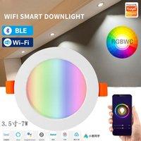 Downlights Juss Fort Wifi Smart Downlight Tuya Aplicación Control remoto RGBWC AJUSTÓN Color Resaltando Spotlight