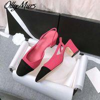 Ollymurs Kadınlar Slingback Kadın Ayakkabı Moda Lady Klasik Marka Desginer Topuklu Tasarım Lüks Tüvit Tasarımcı Ayakkabı Kadın Pompalar