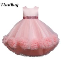 Girl's Dresses Kids Girls High Low Bowknot Flower Girl Princess Dress Ball Prom Gown Wedding Party Pageant Clothes