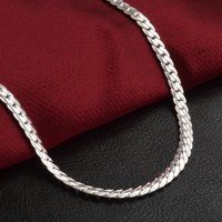 Silver chains 20inch women Full sideways Silver choker necklaces For Men Fashion Jewelry accessories Gift DFF5027