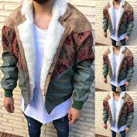 Chaquetas para hombre Fashio Hombres Suede Stitching Pierna Color Bloque Color Bloque de manga larga Fleece Botones Chaquetas Invierno Cálido Outwear