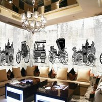 Wallpapers Drop Wallpaper 3d Hand Painted Retro Nostalgia Classic Car Carriage Cafe Bar Backdrop Gallery Mural