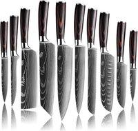 다채로운 나무 손잡이 + 자연 스트라이프, 주방에 대 한 럭셔리 칼을 가진 주방 요리사의 나이프. 다마스커스 패턴 일본 육류 식 칼 슬라이싱 유틸리티 10PC를 구매합니다