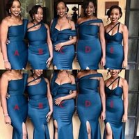2021 Mixed Styles Sexy Blue Mermaid Bridesmaid Dresses Plus Size One Shoulder High Side Split Floor Length Wedding Guest Dress Maid of Honor