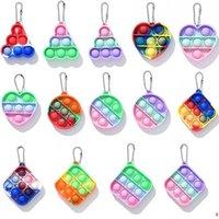 Push it Fidget Toys Finger Bubbles Mini Simple Dimple Keychain Ring Compression Plate Autism Educational Decompression Toy