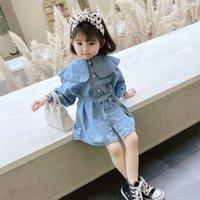 Детская одежда Девушки джинсовые платья Детские рюша воротник Принцесса платья корейская версия весна осень мода детская одежда z3270