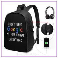 حقيبة الظهر أنا لا أحتاج جوجل أمي تعرف كل شيء أبيض النساء الرجال الاطفال حقائب الظهر مدرسة فاخرة السفر sac de luxe فام الكتف