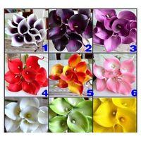 Цветы Венки Праздничная партия Поставки Главная Сад Drop Доставка 2021 DES Цветочный Декоративный Цветок Искусственный Темный Фиолетовый Мини Calla Lily B
