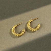 Xiha real 925 esterlina prata c aro brincos para mulheres ouro torcido piercing coreano brinco boêmio declaração de moda jóias