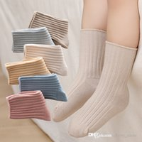 2021 fall winter baby girls combed cotton socks Spanish style macaron color infant four seasons stockings fashion kids casual hosiery D028