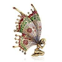 오팔 피는 여성을위한 아름다운 나비 모조 다이아몬드 공작 es 동물 곤충 말 브로치 날개 드래곤 남자 브로치