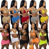 Kadınlar Seksi Mayolar 3 Parça Setleri Barlar + Bikiniler + Elbise Beachwear Yaz Giyim Mayo 2XL Mayo Bandaj Katı Renk Sıcak Satmak 4613
