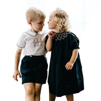 Children Boutique Clothing Brother Sister Mathcing Smocked Clothes Boys Girls Spanish Outfits Baby Smocking Overalls Suit 210316