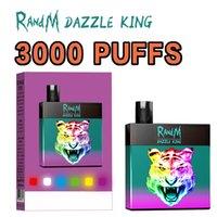 Original RandM Dazzle King 3000Puffs Disposable E Cigarette Vapes 8.0ml Pod RGB Light Bar Vape Kit
