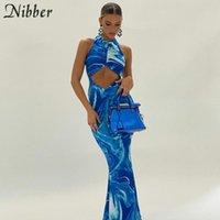 Casual Kleider Nibber Y2k Sexy Strand Bodycon Frauen Aushöhlen Schulterfreier Rückenloser Druck Krawatte Farbstoff Blau Maxi 2021 Sommer