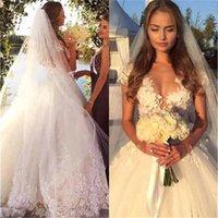 Gorgeous Beach Wedding Dresses Bridal Gown with 3D Floral Applique Tulle Lace Short Cap Sleeves Sweep Train Custom Made Plus Size vestidos de novia