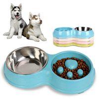 Ciotole per cani alimentatori alimentazione e bevendo paglia di grano slow food ciotola PET PRODOTTI PET 1 PZ DOPPIO CANI PICCOLI Acciaio inossidabile Portatile