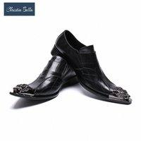 크리스티아 벨라 럭셔리 팝 남자 신발 락 정품 가죽 드레스 신발 남자 수제 패션 블랙 웨딩 파티 댄스 파티 99AG #