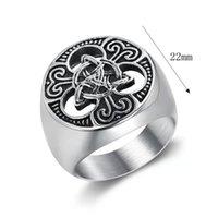 European and American popular stainless titanium steel hollow out retro Nordic Viking Irish Celtic Knot men's ring