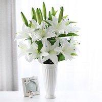 5 pçs / lote festa de casamento deocrate 75cm 3 cabeças branco lírio buquê de plástico flor artificial casa sala de estar arte decoração flores