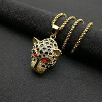Iced Out Bling Leopard Head Pendants Collana Collana Gold Color Catena in acciaio inox Cubic Zircon uomo Charm Hip Hop Gioielli regalo