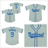 Mens Baseball Jersey Retro 80 's Montreal Jackie Robinson # 9 회색 유니폼 S-3XL