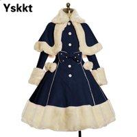 YSKKT frauen lolita herbst mantel warme pelz kragen bowknot kleidjacke mode süße prinzessin breasted oppercoat halloween kostüm