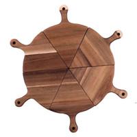 Творческая деревянная плита для пиццы Pizza Divisible Tray деревянный ужин тарелка шикарный деревянный лоток стейк Добрый изысканный посуда AHD5140