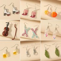 Charm Earrings 2021 Ins Brand Funny Diy Handmade Irregular Violin Women Retro Musical Instrument Dangle Vintage Brincos