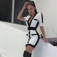 Seamyla New Women Bandagem Vestido Fashion Manga Curta Branco Bodycon Celebridade Vestidos De Festa Sexy V Neck Button Club Vestido Verão 210309