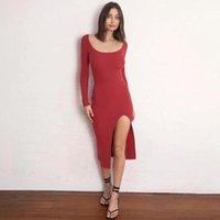 Casual Dresses 2021 Women Autumn Bandage Midi Dress Elegant Long Sleeve Bodycon Slit Sheath Ladies Party Club Plain Streetwear
