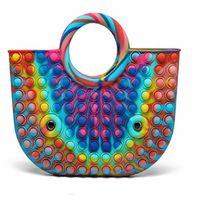 NEW!Silicone Rainbow Push It Bubble Fashion handbag Fidget Party Simple Dimple Finger Toys Decompression Relief handbag
