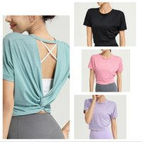 Womens T-Shirt Weste Tops Tanks Mode Outdoor T-shirt Massivfarben Lulu Tank Sport Hohe Qualität Laufwerk Top Gym Kleidung Außenbekleidung Unterwäsche Yoga Kurzarm