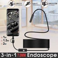 3-in-1 7mm 10m / 5m / 2m / 1m Mini-Endoskop-Kamera-flexible IP67 wasserdichte Kabel-Snake-Boreskop-Inspektionskameras Typ-C USB für Android Smartphone PC 6LEDS Einstellbar