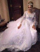 Perlas glamorosas Crystal Overskirt Vestidos de novia Train desmontable Arabia Saudita País Africano Custom Vestido De Novia Vestido nupcial formal