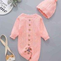 Ins Baby Herbst Winter Strickschnelle Mode einteiliger Pullover + Hut Zwei Teil Set Overalls Niedliche Kindergeile Outdoor Kleidung H9290RN8