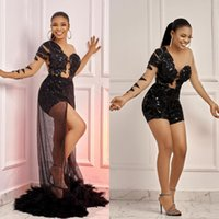 New Black Sequins Jumpsuit Prom Dresses Long Sleeve Detachable Overskirt Train With Feather Evening Gowns