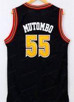 Billig benutzerdefinierte Retro 55-Mutombo-Basketball-Jersey genäht schwarz Jeder Nummernname Größe 2xs-5XL Kostenloser Versand Top Qualität