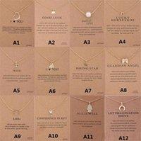 12 스타일 새로운 도착 Dogeared 목걸이 선물 카드 코끼리 진주 사랑 날개 크로스 키 조디악 로그인 여성 패션 쥬얼리