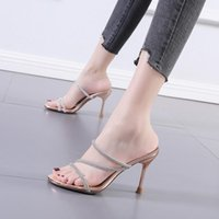 Slippers Casual High-Heeled Shoes Lady Flock Slipers Women Slides Low Jelly Flip Flops Luxury Thin Summer 2021 Glitter Crystal F