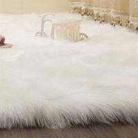 Simanfei Alfombras peludas NUEVO Piel de piel de oveja Piel Piel esponjosa Bedroom Faux Mats Lavable Área de Textil Artificial Lavable Alfombras Cuadradas 708 K2